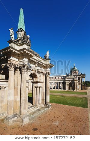 Potsdam Germany - August 27 2016: View of the New Palace of Sanssouci famous landmark of Potsdam summer time