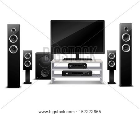 Realistic home theater concept with tv dvd-player and musical speakers isolated vector illustration