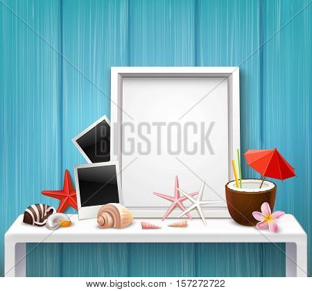 Realistic blank frame template with photographies shells cocktail starfishes in nautical style vector illustration