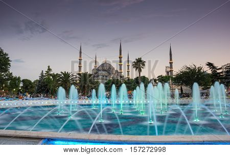 ISTANBUL TURKEY - JUNE 25 2015: Sultan Ahmet Mosque (Turkish: Sultan Ahmet Camii) is a historic mosque in Istanbul Turkey. The mosque is popularly known as the Blue Mosque for the blue tiles adorning the walls of its interior