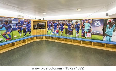 London, the UK - May 2016: In the changing room at Stamford Bridge stadium - the official playground  of FC Chelsea