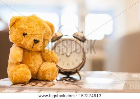 Retro Teddy Bear Toy Alone With Alam Clock.