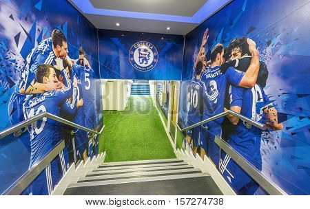 London, the UK - May 2016: Players tunnel at Stamford Bridge stadium - the official playground  of FC Chelsea