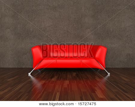Red leather sofa in interior