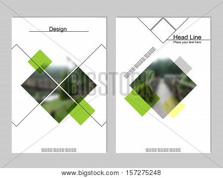 Vector brochure cover templates with blurred landscape. Business brochure cover design. EPS 10. Mesh background.