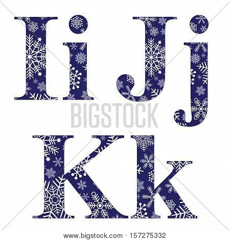 Uppercase and lowercase letters I J and K of the English alphabet with winter pattern carved snowflakes vector