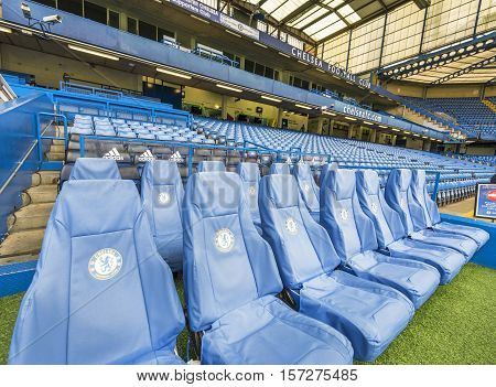 London, the UK - May 2016: At the team's bench at Stamford  Bridge stadium - the official playground  of FC Chelsea