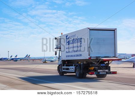Chisinau Moldova - September 27 2016: The Air Moldova cargo car on the runway of the international airport