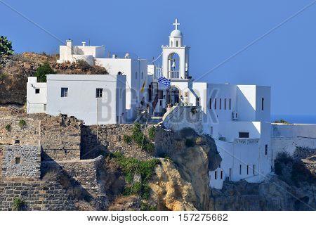Mandraki town and monastery on island Nissyros,Greece