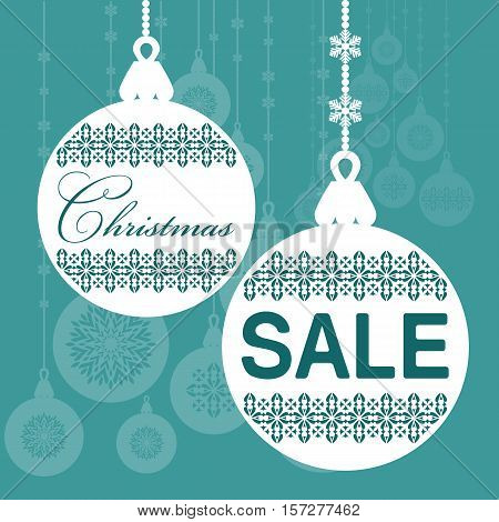 Design template Christmas sale. Holiday christmas balls with text in on blue background. Vector illustration