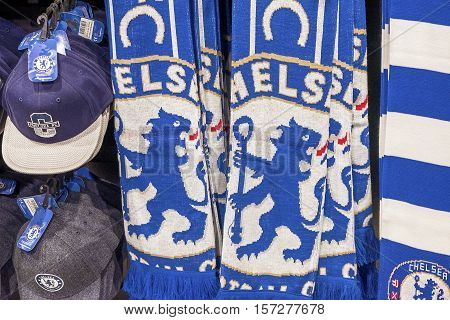 London, the UK - May 2016: FC Chelsea fans scarves in the official store at Stamford Bridge stadium