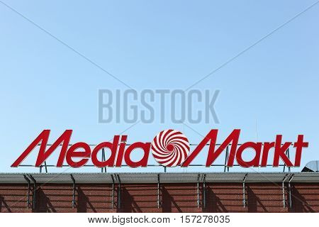 Kiel, Germany - June 4, 2016: Media Markt logo on a building. Media Markt is a German chain of stores selling consumer electronics with numerous branches throughout Europe and Asia