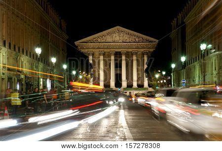 Night View Of The Roman Catholic Church Madelein, Paris, France