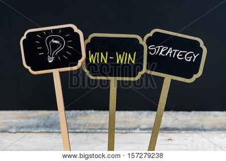 Concept Message Win-win Strategy And Light Bulb As Symbol For Idea