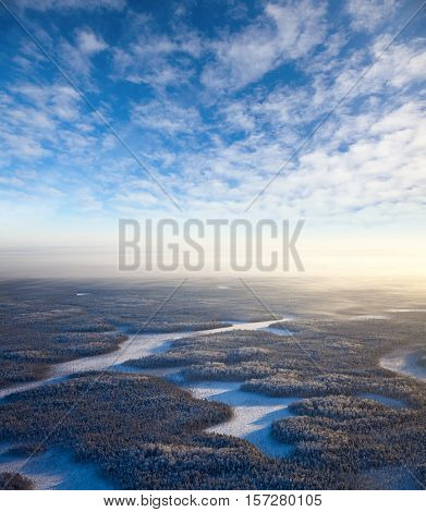 Aerial view of endless forest in time of winter day.