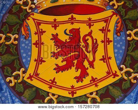 Lion rampart symbol of Scotland, Stirling castle, UK