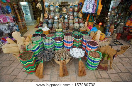 Commercial spices and souvenirs. Shop Dahab, Egypt, Red Sea.