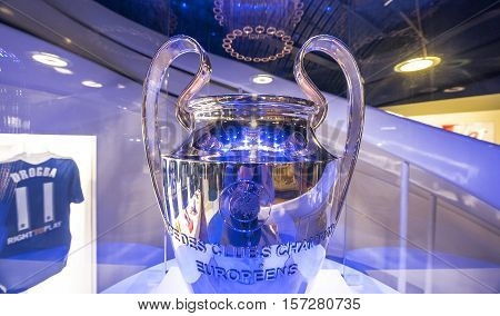 London, the UK - May 2016: one of the trophies in FC Chelsea museum