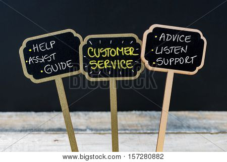 Concept Message Customer Service Written With Chalk On Wooden Mini Blackboard Labels