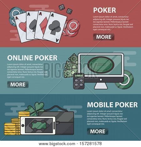 Vector thin line design horizontal banners of online and mobile poker. Business concept of casino, gambling and money game. Set of poker elements.