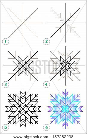 Page shows how to learn step by step to draw a snowflake. Developing children skills for drawing and coloring. Vector image.