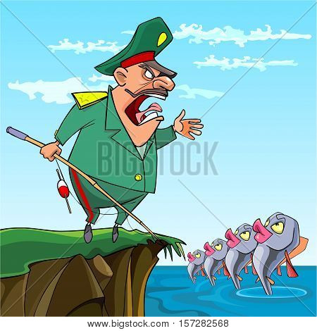 cartoon male General fishing commanded the fish