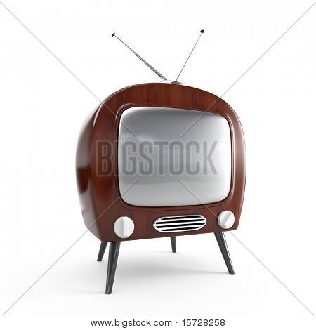 Stylish retro TV in dark wood case - isolated