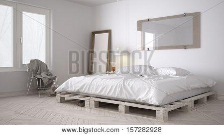 DIY bedroom scandinavian white eco chic design, 3d illustration