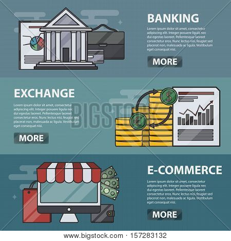 Vector thin line design horizontal banners of banking, exchange and e-commerce for websites. Business concept of economy, finance, marketing and money. Set of marketing elements.
