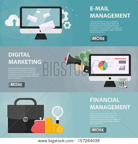 Vector flat horizontal banners of e-mail management, digital marketing and finance for websites. Business concept of e-commerce and economy. Set of business elements.