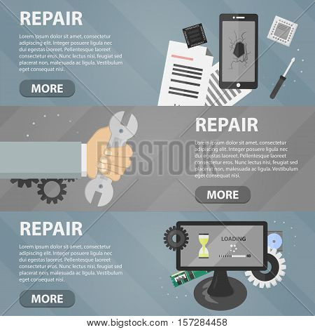 Vector flat horizontal banners of repair for websites. Business concept of computer support service and electronic market. Set of phone elements and hardware.