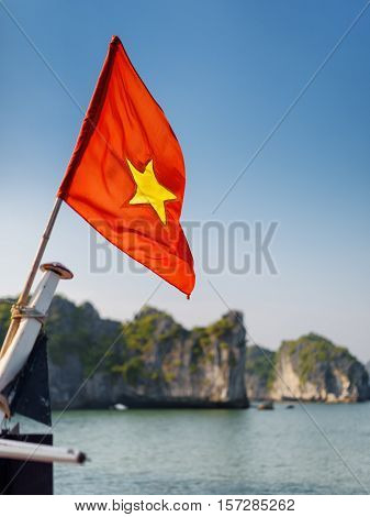 Closeup View Of The Flag Of Vietnam On Ship, The Ha Long Bay