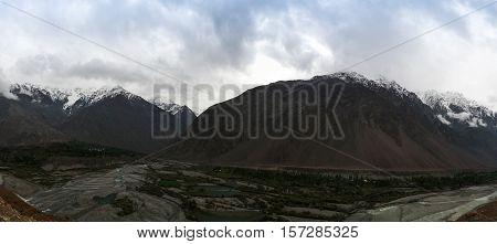 Panorama of Yarkhum river and valley near Shandur pass Pakistan