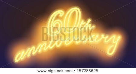 60 years anniversary vector illustration banner flyer logo icon symbol sign. Graphic design element with electric light font for 60th anniversary birthday card