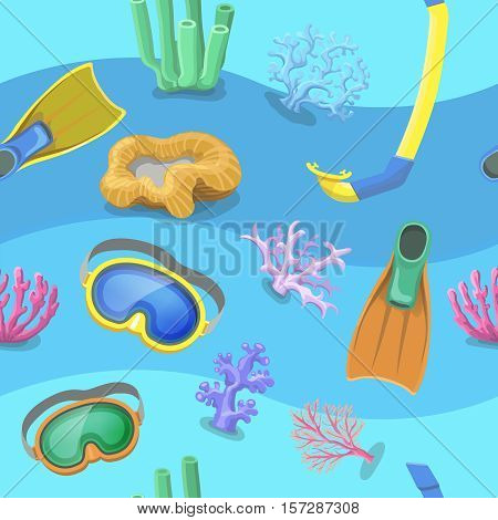 Seamless pattern with flippers, mask and snorkel on white background. Art vector illustration.