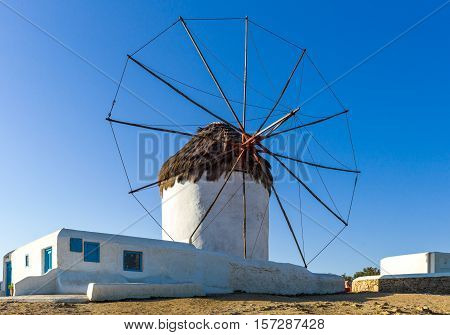 Greece, Mykonos, the historic windmills on the promontory of the Chora old town