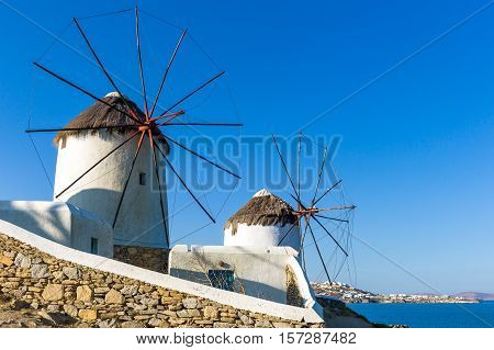 Greece Mykonos the historic windmills on the promontory of the Chora old town