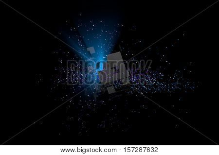 Abstract 3D background. Particles in space with broken cube and volumetric light.