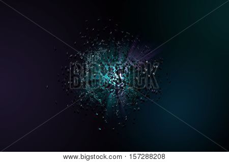 Abstract 3D background. Broken blue platonic with triangle particles in space.