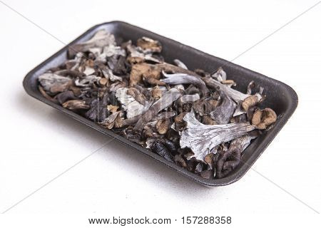 Black polythene tray full of Horn of Plenty mushrooms. Isolated