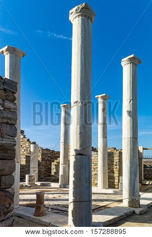 Greece Delos archaeological site the columns of the Dionysus House