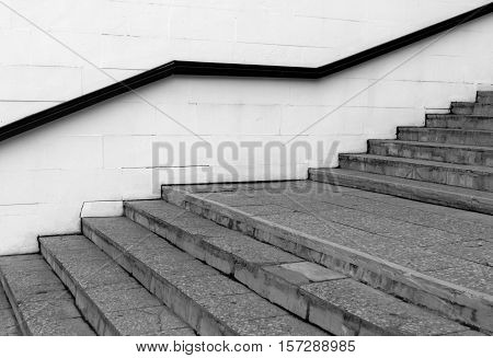 Stairway with handrail. Architectural background and view