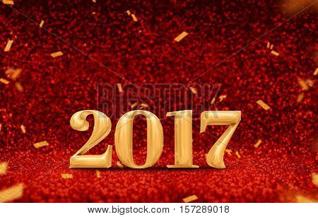 Happy New Year 2017 (3D Rendering) Gold Shiny Color At Perspective Red Sparkling Glitter With Gold C