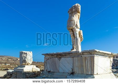 Greece Delos archaeological site the Roman Sanctuary ruins
