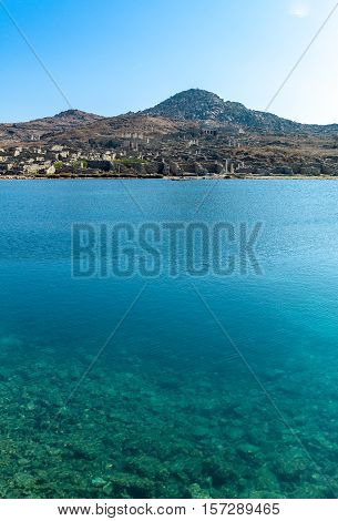 Greece Delos view of the archaeological site from the harbor