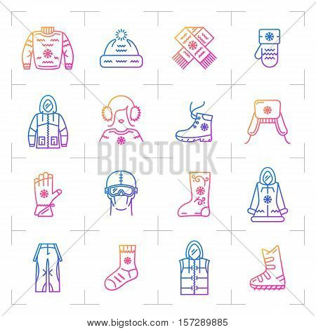 Trendy winter clothes vector isolated gradient icon set. Colorful modern web sportswear symbols, fashion winter clothing outline icons, line art hipster logo. Vector illustration