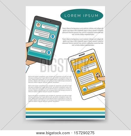 Brochure template design vector. Chat bot connected flyer for A6