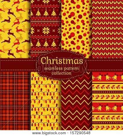 Merry Christmas and Happy New Year! Seamless backgrounds set with xmas tree deer holly christmas light bells knitting Norwegian ornament checkered and abstract patterns. Vector collection.