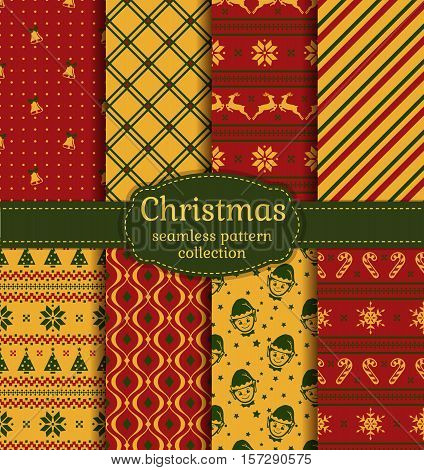 Merry Christmas and Happy New Year! Vector set of retro seamless backgrounds with holiday symbols: candy cane xmas tree deer bells snowflakes elfs Norwegian ornament and abstract patterns.