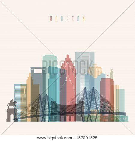 Transparent styled Houston state Texas skyline detailed silhouette. Trendy vector illustration.